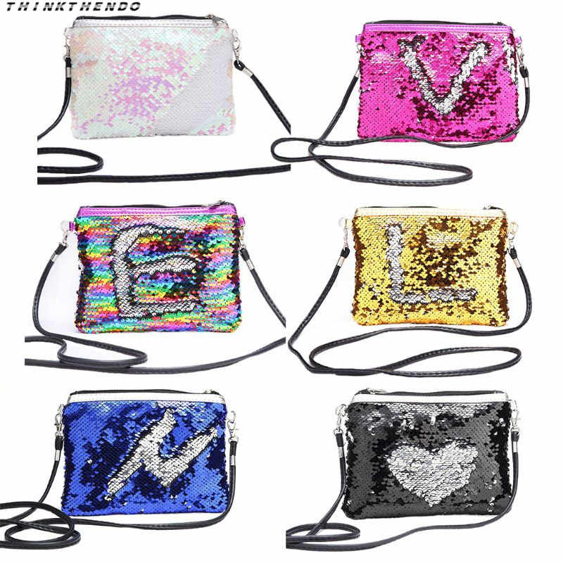 THINKTHENDO/Модная Новинка; блестящая маленькая сумочка с блестками для девочек; Повседневная сумка через плечо со съемным ремешком