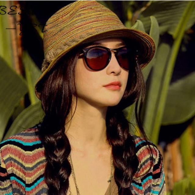 Versión coreana primavera y el verano sombrero colas de colores y top sol sombrero de playa sombrero de la marea señorita Xia Ji