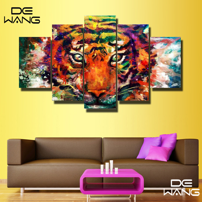 Cheap Art Decor: 5 Pieces Oil Paintings Canvas Cheap Abstract Lion Colorful