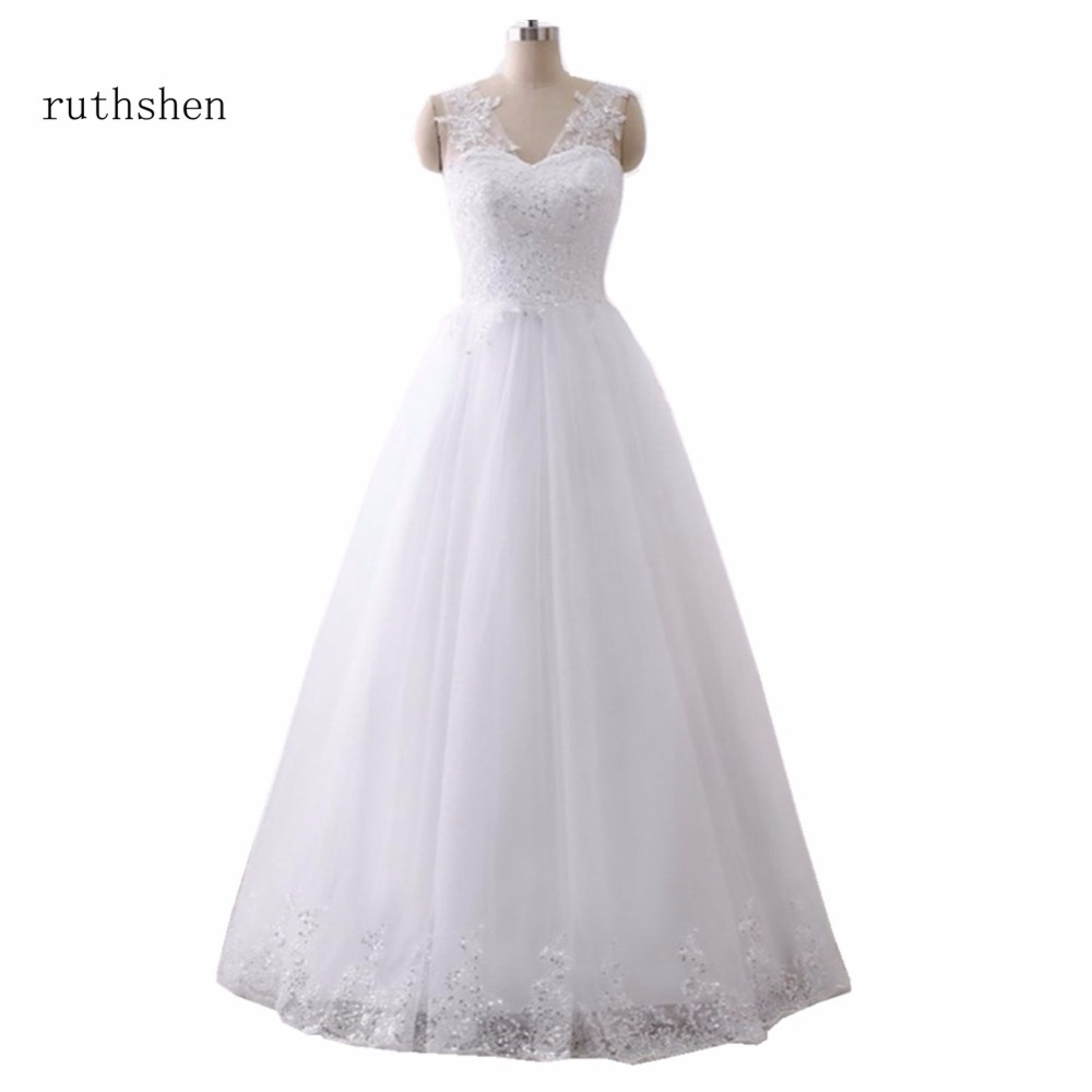 ruthshen Cheap Wedding Gowns 2018 V-Neck Sequined Ruched Tulle Bride Dresses Real Photo Lace Up Back Robe De Mariee