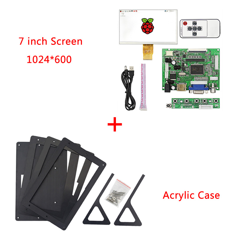 Framboise Pi 3 Modèle B Plus 7 pouce Écran 1024*600 50pin ÉCRAN LCD + HDMI VGA Carte D'entraînement + Boîtier en acrylique pour Framboise Pi 3