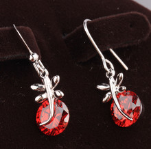 Costly Dragonfly Round Red Garnet Gems 925 Sterling Silver Trendy Jewelry Drop Dangle Earrings S5650(China)