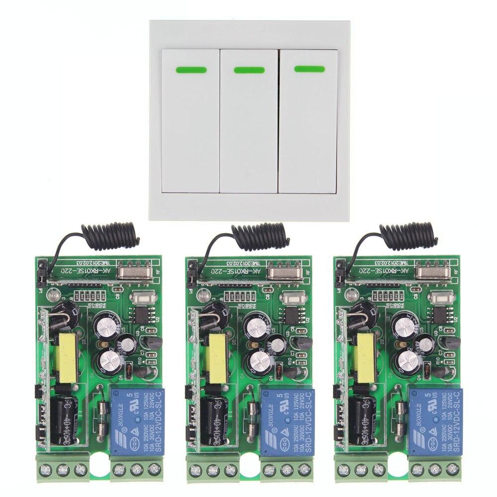 AC85V-265V 110V 220V 230V 1 CH 1CH RF Wireless Remote Control Switch System Receiver+3CH 86 Wall Panel Transmitter, 315 433.92 ac 220v rf wireless remote control switch 2 button wall transmitter receiver