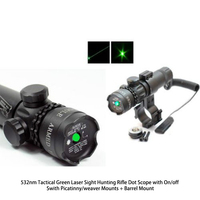 532nm Mira Laser Verde Tático Rifle de Caça Âmbito Dot com On/off Swith Picatinny/weaver Mounts + Barril montar