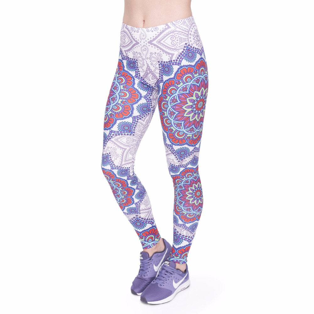 Fitness Legging Elegant Red Mandala Printing Fashion Bottoms Sexy High Waist Leggings Women Pants