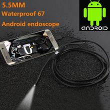 цена на LESHP 6LED 5.5mm 1/1.5/2/3.5/5M Lens Endoscope Waterproof Inspection Borescope for Android Focus Camera Lens USB Cable Endoscope