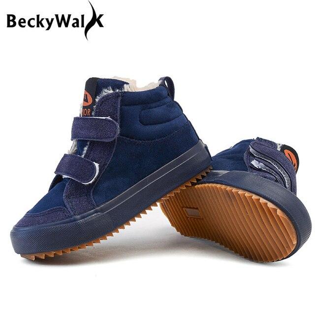 e7f8acdf2b8 Marca Niños Nieve Botas de Invierno Cálido de Felpa Niños Botas Niños  chicas Altas Zapatillas de