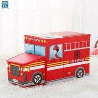 Car Storage Box Children Bus Organizer For Kids Clothes Toy Folding Cartoon Basket Toys Bin Sundries Wardrobe Drawer Desktop