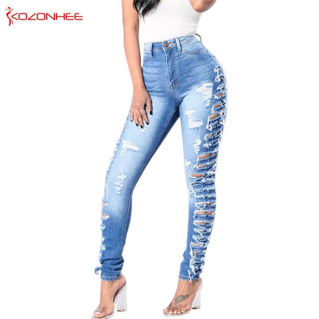 mirada detallada 3cb3d 058b6 Delgada estiramiento rasgado Vaqueros Skinny Mujer elásticos lápiz  pantalones vaqueros para mujeres, Vaqueros # K094