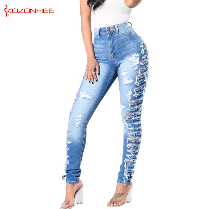Thin Stretching Torn Skinny   Jeans   Women Elastic Push Up Pencil   Jeans   Trousers For Women   Jeans   #K094