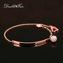 Double Fair OL Style Cubic Zirconia Ball Fashion Charm Bracelets & Bangles Rose Gold Color Crystal Jewelry Gift For Women DFH196