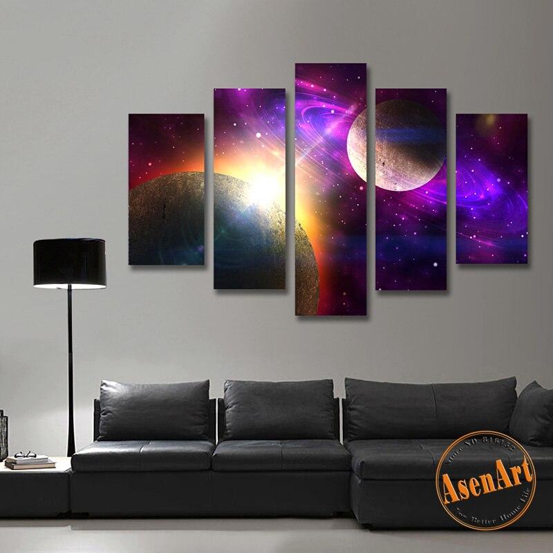 5 unidades lienzo pintura Galaxy Planet universo pintura para sala de estar casa decoración unframed pared púrpura pinturas Set