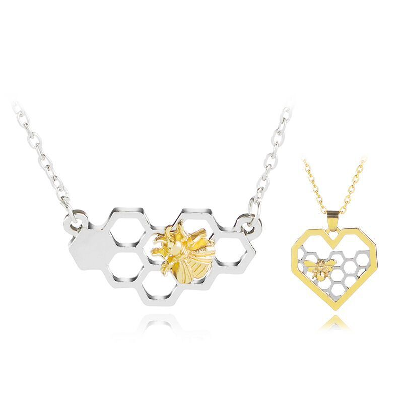Honeycomb Bee Necklace Honey Silver Gold Pendant Jewelry Girl Birthday Gift