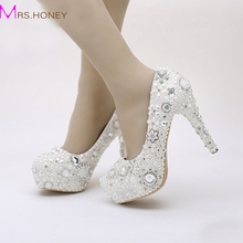 Snow White Pearl Hochzeit Schuhe Strass Kristall Kleid Schuhe Partei Prom Plattform High Heels Pageant Ereignis Pumpen Frauen Schuhe