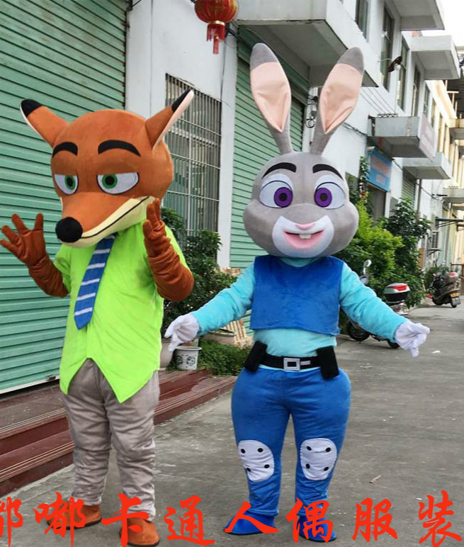 Offre spéciale Nouvelle Zootopia Nick Wilde Vêtements et Hopps Mascotte Judy Costume De Mascotte de Dessin Animé Fantaisie Robe Costume de Mascotte pour Halloween