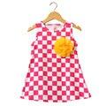 2016 Mais Novo Xadrez Vestido Infantil Da Criança das Meninas Crianças Vestido de Verão de Algodão A Linha de Crianças Roupas Para O Verão