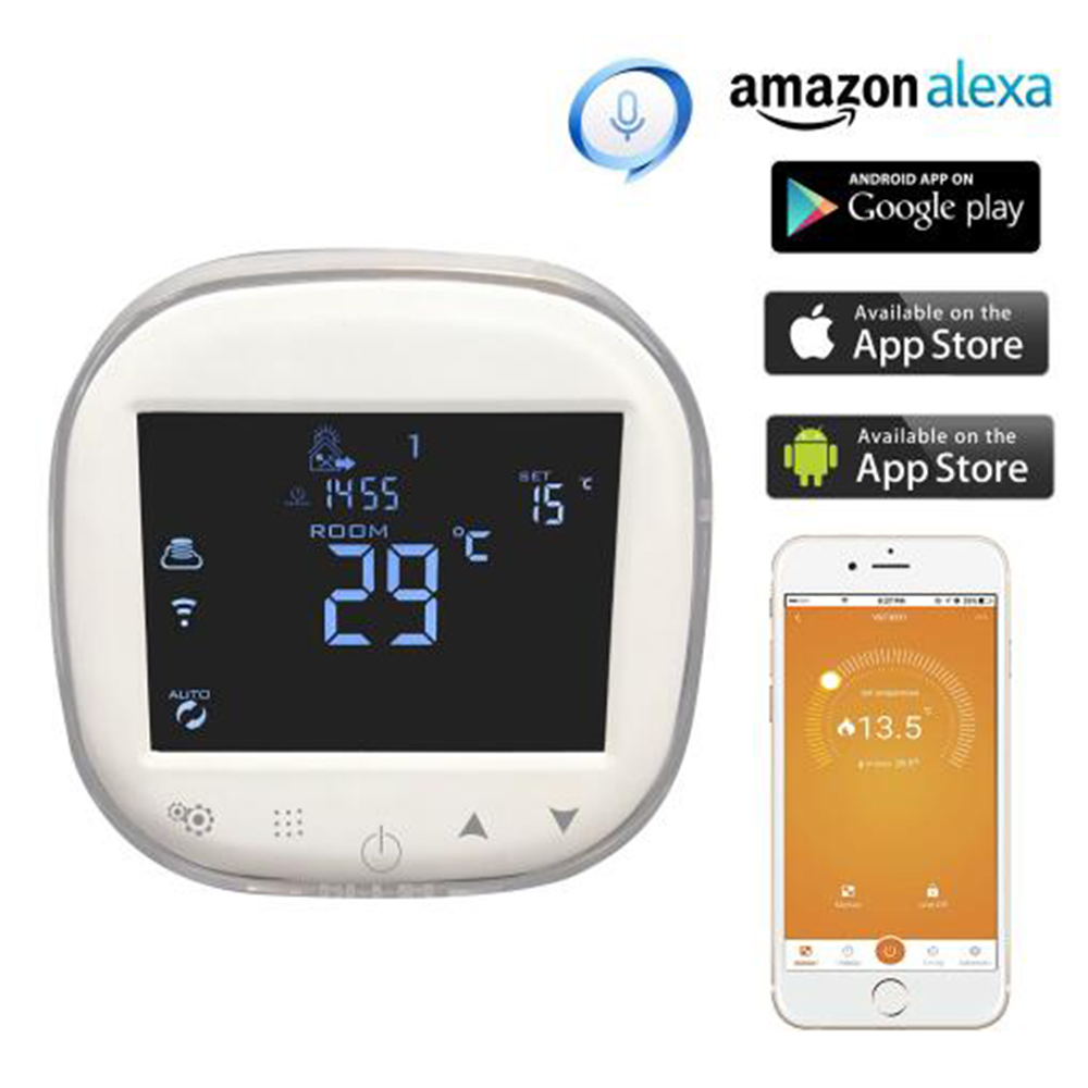 Programmable WiFi Thermostat Water/Gas Boiler Heating Thermostat Room Temperature Controller Works with Alexa Google Home 7 6 time bucket programmable wireless boiler thermostat battery with gas