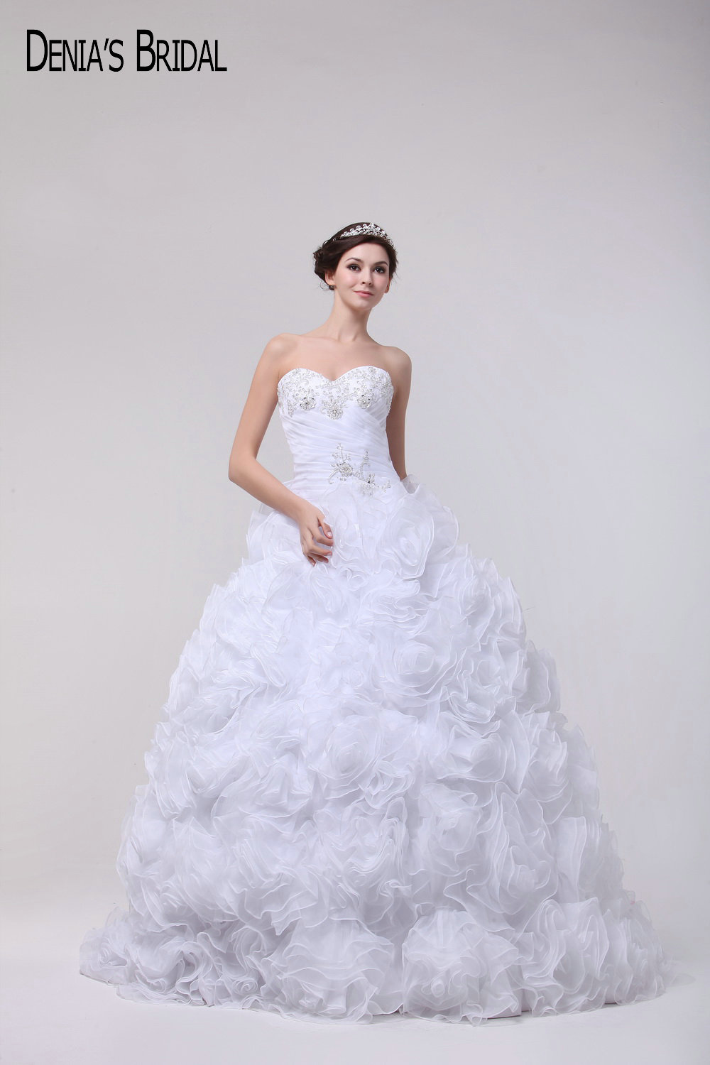Puffy Ball Gown Wedding Dresses Sweetheart Neck Beaded Ruched ...