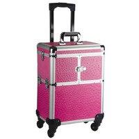 Бренд Алюминий рамка 4 колеса сумка тележка Макияж коробка Красота случае путешествия Профессиональный Макияж чемодан Макияж Универсальны