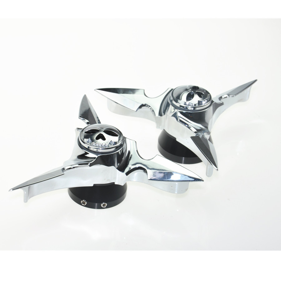 Free Shipping Motorcycle Chrome Front Axle Skull Spun Blade Spinning Caps Cover For Harley Sportster Dynas Softail V-Rod Touring 1 pair black aluminum motorcycle front axle nut cover with skull pattern and screws for harley sportster xl883 xl1200 x48