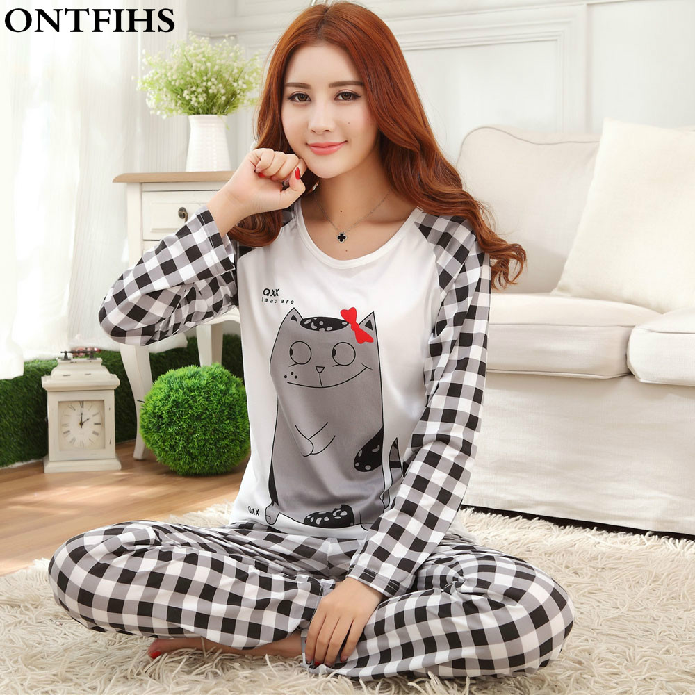 Conjunto de pijama de manga larga para mujer pijama de poliéster pijama de dibujos animados para mujer Pijamas para niñas Tops pantalones S M L XL 2XL