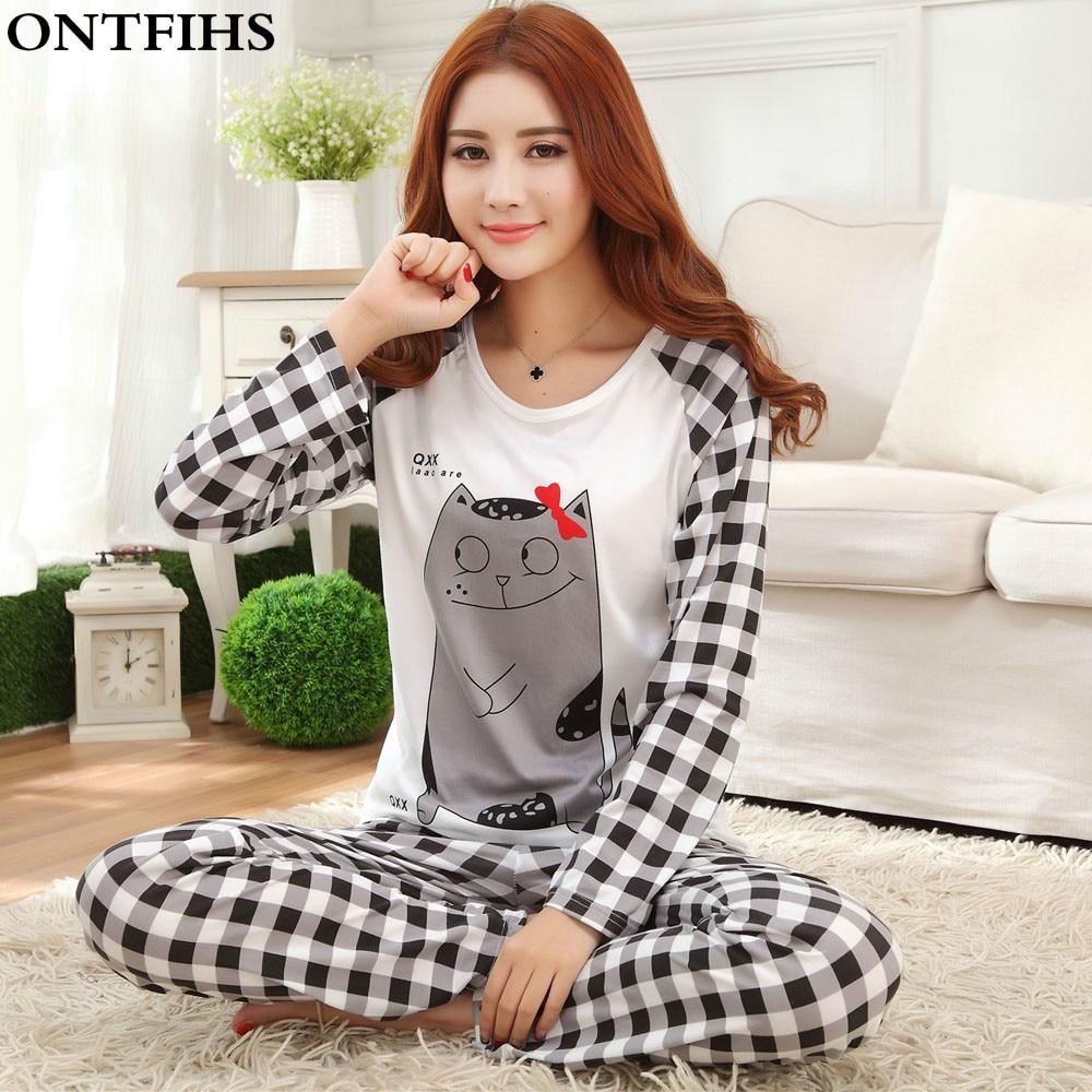 Womens Pajama Sets Long Sleeve Sleepwear Polyester Pyjamas femme Cartoon Nightwear Pajamas Girls Tops Pants S M L XL 2XL