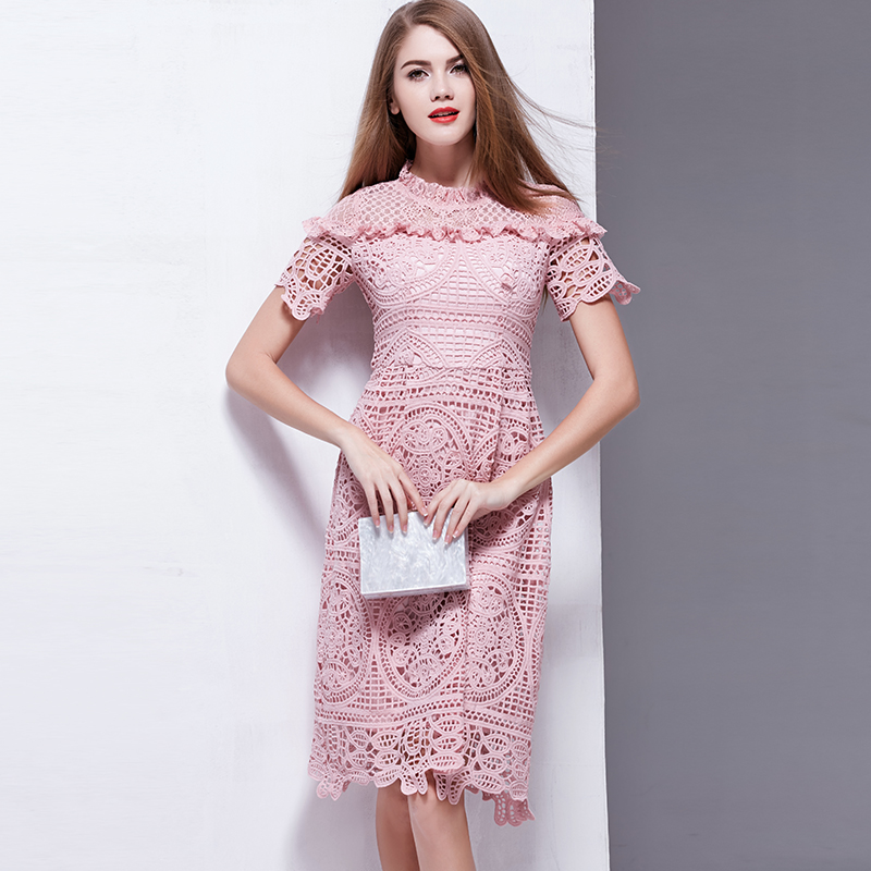 ea95a06f538 Ladies Elegant 2017 Summer Lace Dresses Short Sleeve European High Quality  Pink   Blue Knee Length Hollow Out Women Dress-in Dresses from Women s  Clothing ...