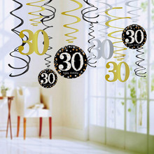 12PCS 18/30/40/50/60 Year Olds Plastic Spiral Ornaments,Latex Happy Bityhday Balloons, Party Decorations