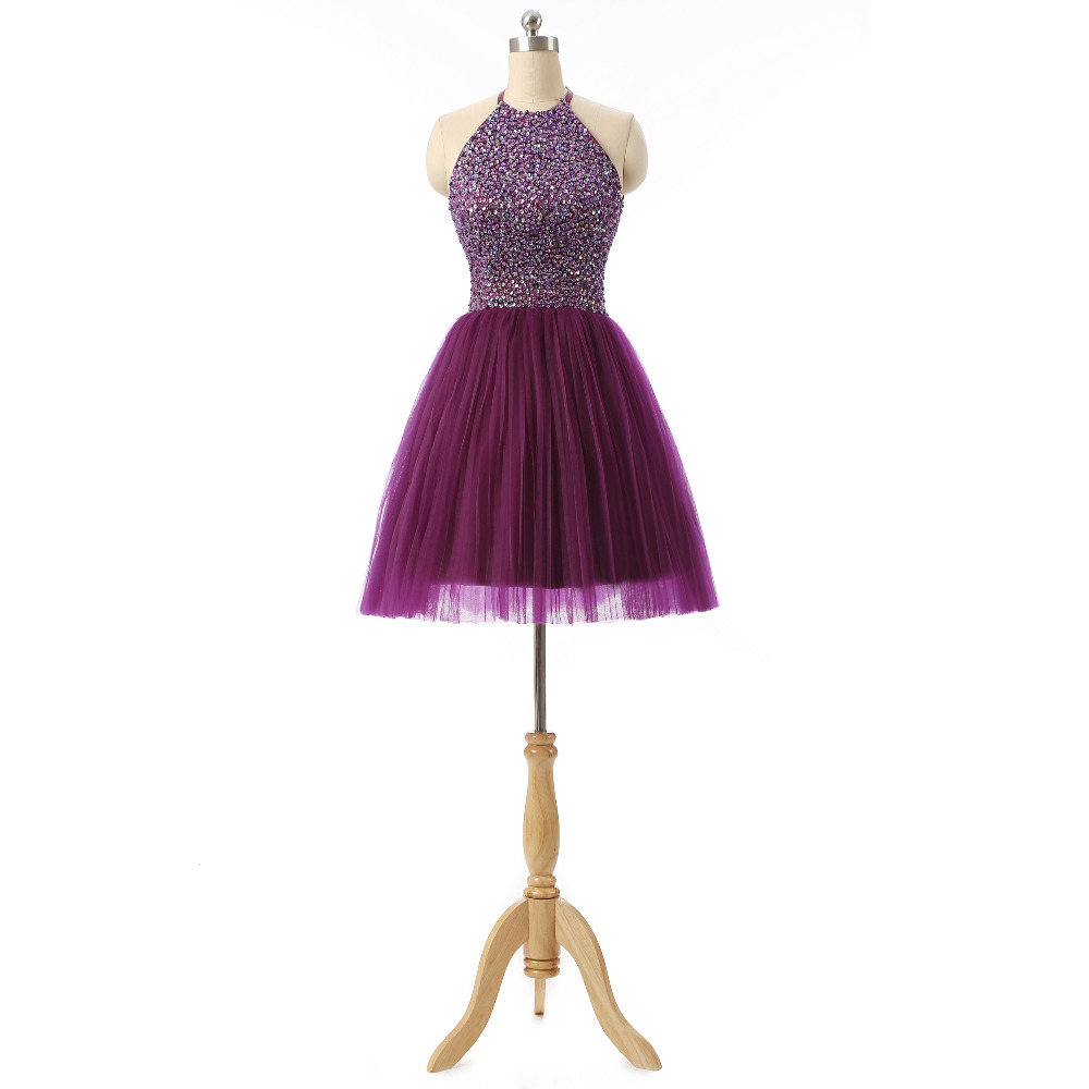 Fashion Halter 8th Grade Graduation Dresses Beads Short