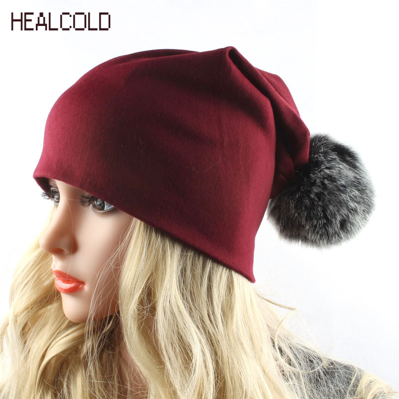 HEALCOLD Brand Cotton Cap Faux Fur Pompom Hat Christmas Gift Beanies - Apparel Accessories