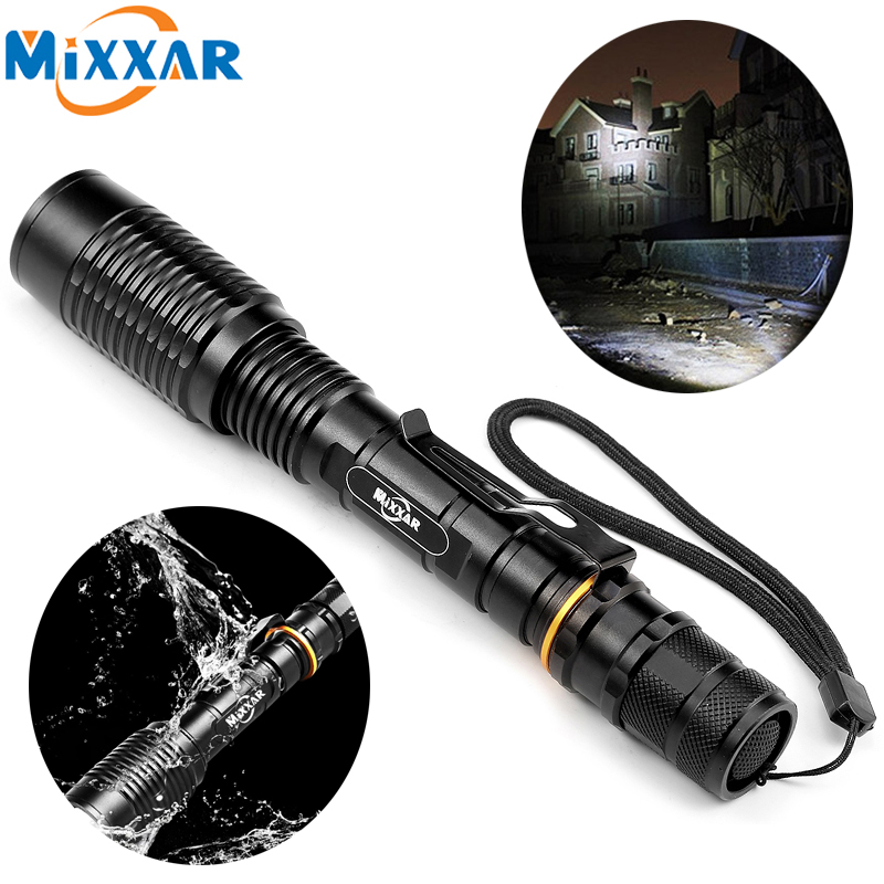 Powerful Police T6 LED Flashlight Tactical 8000LM Torch Lamp Zoomable Hunt Light