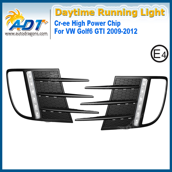 LED Car Daytime Running Light 12W Cr ee High power 6000K White 1320lm Headlights for VW Golf6 GTI 09 12 DRL Daylight kits
