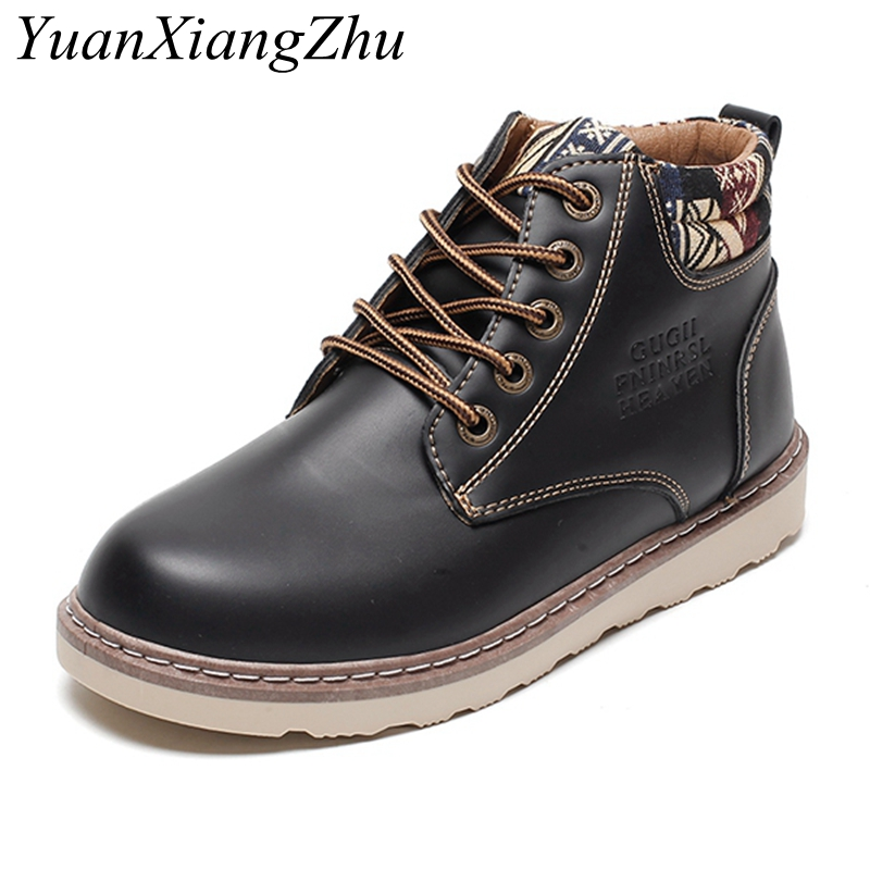 New 2018 British Style High Quality Leather Autumn Men Boots Winter Round Toe Ankle Boots Martin Booties Working Boots Men Shoes british england style stylish men boots natural leather round toe chunky heel male ankle booties comfortable new mans shoes