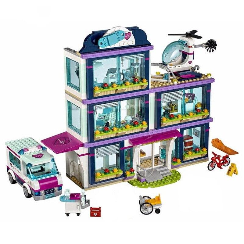 New 932Pcs Heartlake City Park Love Hospital Girl Friends Building Block Compatible Friends Brick Toy