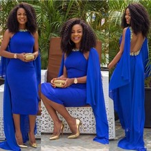 African Royal Blue Abendkleider Tee Länge Caped Perlen mit Strass Bodycon Backless Cocktail Prom Party Kleider 2016