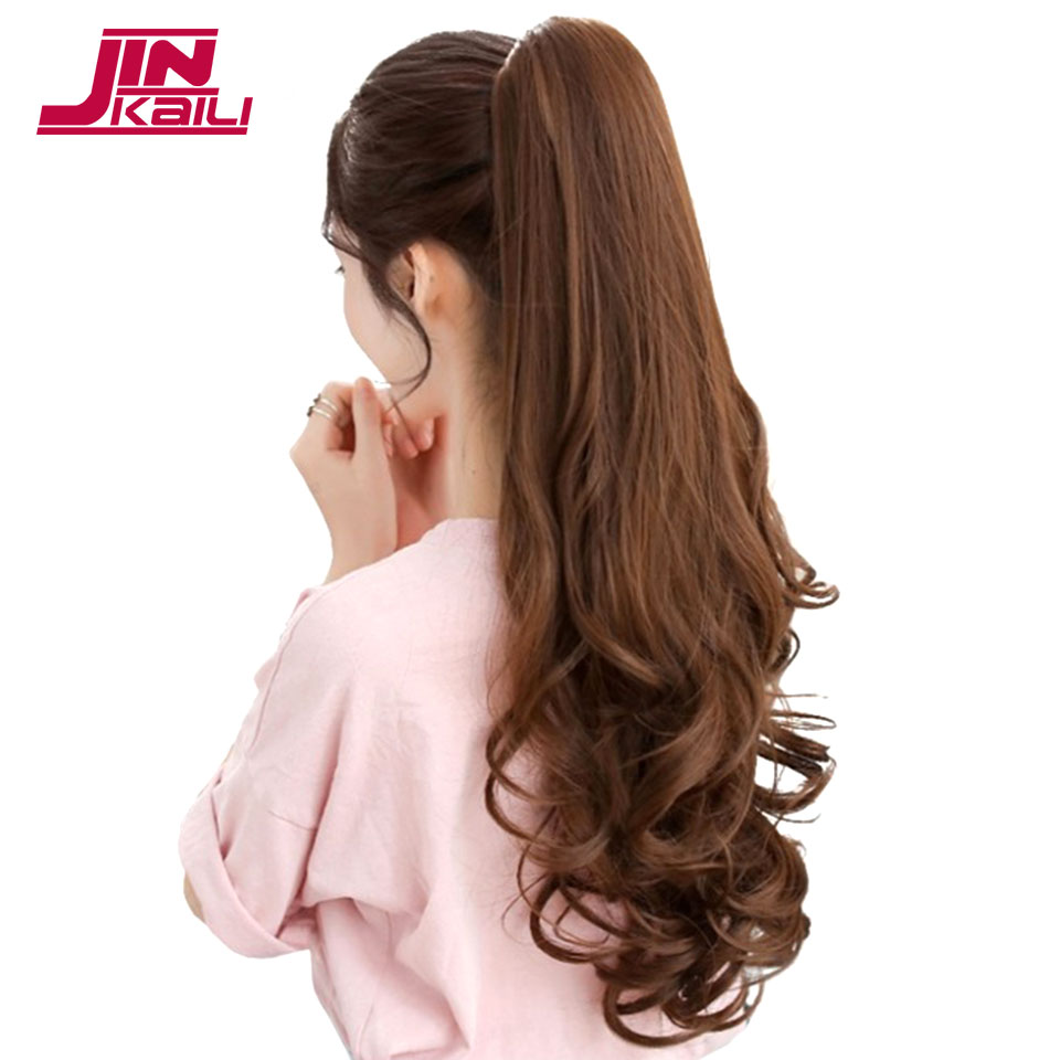 JINKAILI HAIR 24 Long Curly Synthetic Ponytail Light Brown Drawstring Claw on Ponytail Hair Extensions Heat Resistant Hair Tai