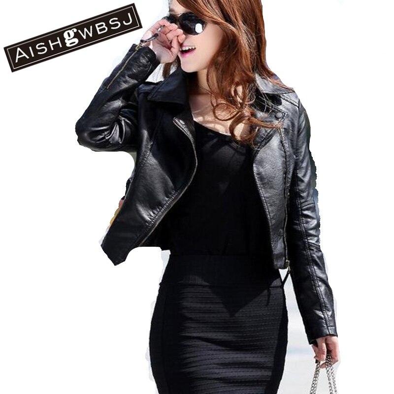 AISHGWBSJ Autumn Women Faux   Leather   Jacket Black Zippers Turn Down Collar PU Coat Motorcycle Outerwear 2019 Latest Fashion ZP258