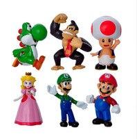 6 Pcs Set 4 7cm Super Mario Action FigureToy Cartoon Anime Mini Super Mario Bros PVC