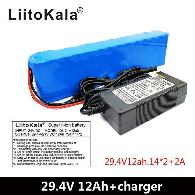 LiitoKala 7S4P 24 V 12ah แบตเตอรี่ลิเธียมแบตเตอรี่ไฟฟ้าจักรยาน ebike สกูตเตอร์รถเข็น cropper กับ BMS