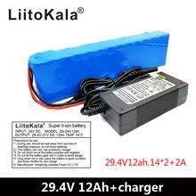 LiitoKala batería de litio 7S4P, 24V, 12ah, para bicicleta de motor eléctrico, ebike, scooter, silla de ruedas, cropper con BMS