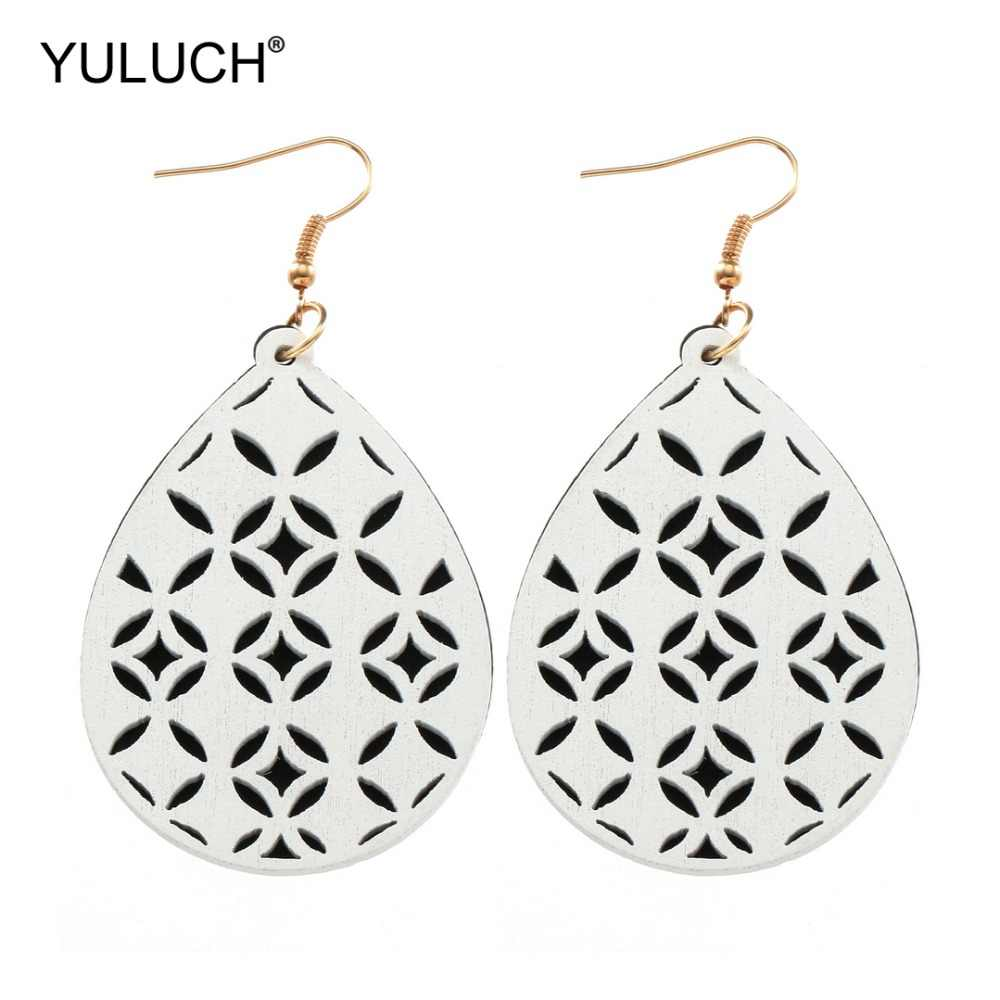 YULUCH Double-layer Wooden Chip Black White Hollow Flower Ethnic Natural Pendant Fashion Water Drop Earrings for Women Earrings