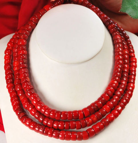 3 strands Red Sea Coral Silver Toggle Necklace Long 193 strands Red Sea Coral Silver Toggle Necklace Long 19