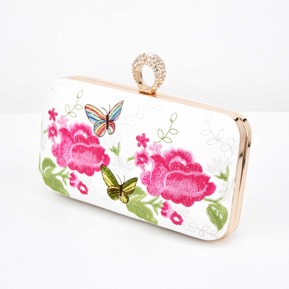 7 color Pu embroidery Flower Clutch Bag finger ring Crystal Evening Bag White Party Prom Purse Ladies Wedding bride day clutches free shipping a15 48 blue color fashion top crystal stones ring clutches bags for ladies nice party bag
