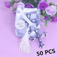 50pcs/set Sliver Boxed Cross Hollow Bookmark White Tassel For Baby Baptism Holy Communion Shower Graduation Wedding Favours Gift