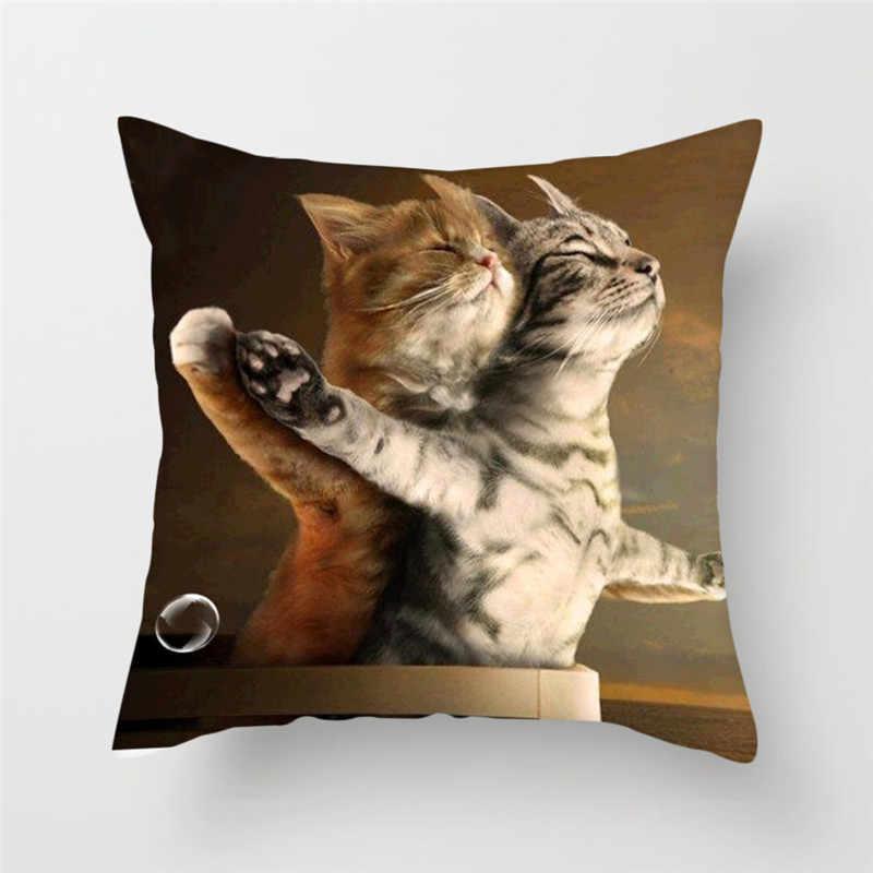Fuwatacchi Bonito Do Gato Capa de Almofada Gato e Borboleta Pillow Lance Decorativa Almofadas Capa para Sofá Cadeira Casa Animais 45*45 cm
