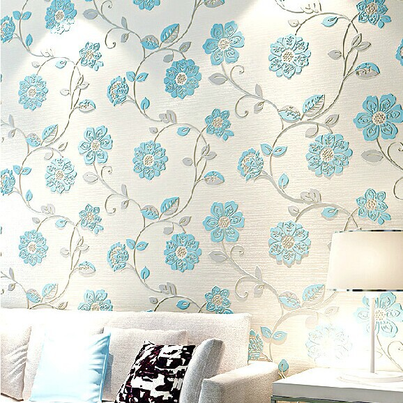 3d floking non-woven flower Vinyl wallpaper rolls for bedding room living room bedroom wall paper rolls wallcoverings beibehang wall paper pune girl room cartoon children s room bedroom shop for environmental non woven wallpaper ocean mermaid