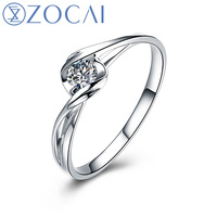 ZOCAI BRAND LOVE NATURAL REAL 0.08 CT CERTIFIED H / SI DIAMOND ENGAGEMENT RING ROUND CUT 18K WHITE GOLD JEWELRY Q00069A