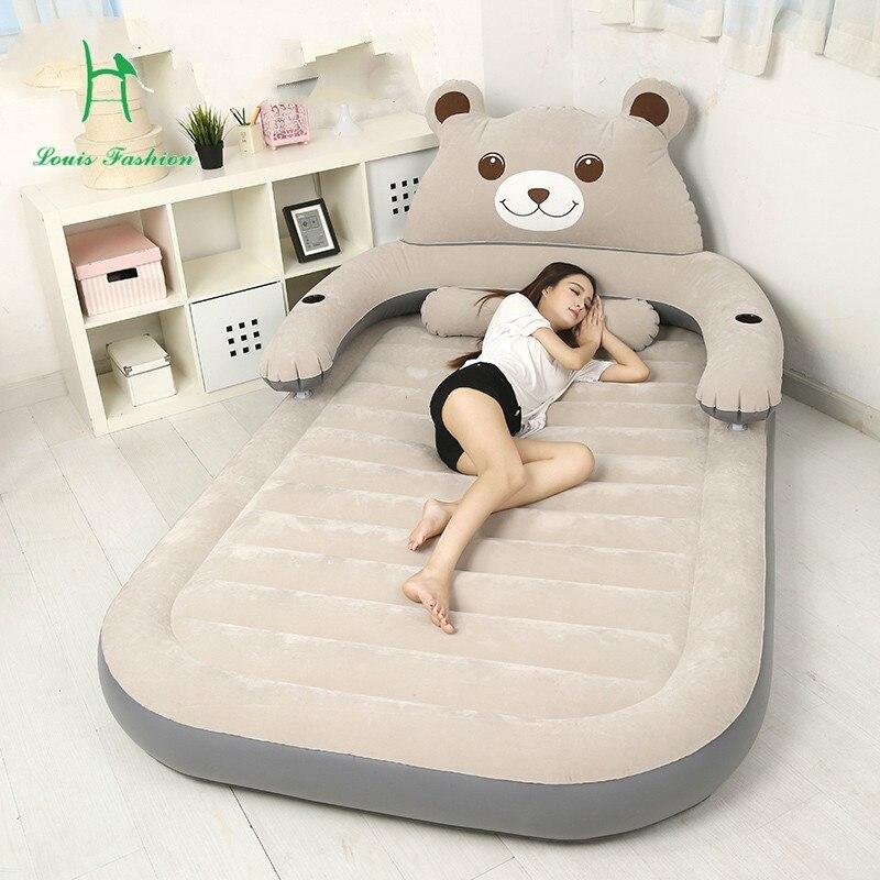 Colchón de Tatami a la moda Louis Totoro Beanbag doble pareja portátil cama inflable Oso de dibujos animados en el suelo