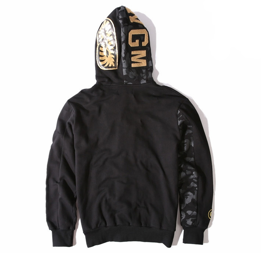 b22a8e97adc3 Bape shark hoodies men High quality Metal tag brand newest Gold shark head  bape sweatshirts jacket coats mens sport tracksuits-in Hoodies   Sweatshirts  from ...