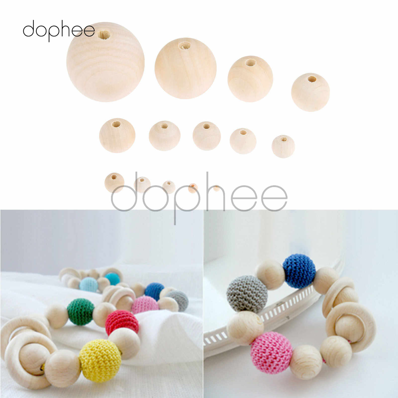dophee 50-600pcs Multi-Size Natural Wooden Beads Round Eco-Friendly For Artwork Necklace Making Garment Decorations Accessories